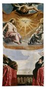 The Trinity Adored By The Duke Of Mantua And His Family Beach Towel