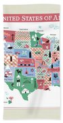 The United States Of America Map Beach Towel