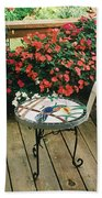 The Upper Deck With Stain Glass Table Beach Towel