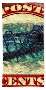 The Upside Down Biplane Stamp - 20130119 Beach Towel