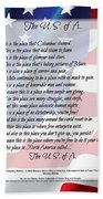 The U.s.a. Flag Poetry Art Poster Beach Towel by Stanley Mathis