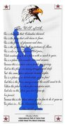 The Usa Statue Of Liberty Poetic Art Poster Beach Towel by Stanley Mathis