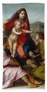The Virgin And Child Between Saint Matthew And An Angel Beach Sheet