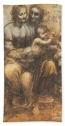The Virgin And Child With Saint Anne And The Infant Saint John The Baptist Beach Towel by Leonardo Da Vinci