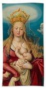 The Virgin As Queen Of Heaven Suckling The Infant Christ Beach Towel