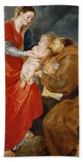 The Virgin Presents The Infant Jesus To Saint Francis Beach Towel