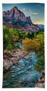 The Watchman At Sunrise Beach Towel
