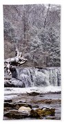 The Waterfall Near Valley Green In The Snow Beach Towel