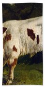 The White Calf Beach Towel by Gustave  Courbet
