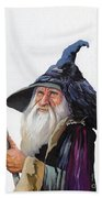 The Wizard And The Raven Beach Towel by J W Baker
