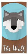 The Wolf Cute Portrait Beach Towel