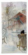 The Yard And Wash House Beach Towel by Carl Larsson