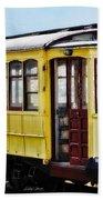 The Yellow Trolley Car Beach Towel