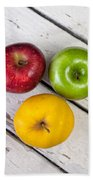Thee Apples On A Table Beach Towel