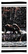 Thirsty Moose Impressionistic Painting With Borders Beach Towel