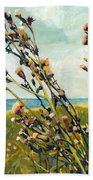 Thistles On The Beach - Oil Beach Towel by Michelle Calkins