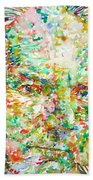 Thomas Bernhard Watercolor Portrait Beach Towel