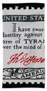 Thomas Jefferson American Credo Vintage Postage Stamp Print Beach Towel