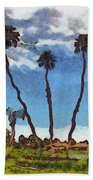 Three Abstract Palm Trees  Beach Towel