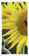 Three Bees On A Sunflower Beach Towel