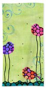 Three Birds - Spring Art By Sharon Cummings Beach Towel
