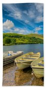 Three Boats Beach Towel by Adrian Evans