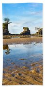 Three Brothers Rock Formation Near The Oregon Coast Beach Towel