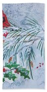 Three Cardinals In The Snow With Holly Beach Towel