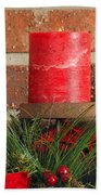 Three Christmas Candles Beach Towel by Kenneth Sponsler