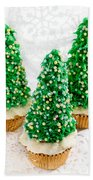 Three Christmastree Cupcakes  Beach Towel