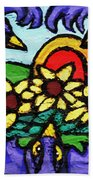 Three Crows And Sunflowers Beach Towel by Genevieve Esson