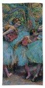 Three Dancers.blue Tutus Red Bodices Beach Towel