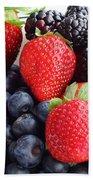 Three Fruit - Strawberries - Blueberries - Blackberries Beach Towel by Barbara Griffin