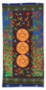 Three Of Pentacles Beach Towel