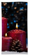 Three Red Candles In Snow  Beach Towel