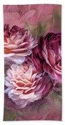 Three Roses Burgundy Greeting Card Beach Towel