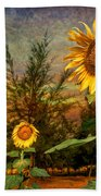 Three Sunflowers Beach Towel