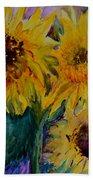 Three Sunflowers Beach Towel
