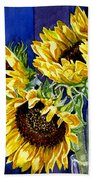 Three Sunny Flowers Beach Towel