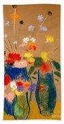 Three Vases Of Flowers Beach Towel