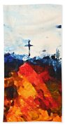 Three Wooden Crosses Beach Towel