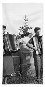 Three Young Accordion Players Beach Towel