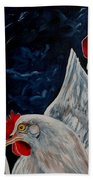 Three's A Crowd   -    Roosters -chicken Beach Towel