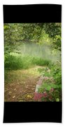 Through The Forest At Water's Edge Beach Towel