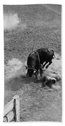 Thrown Bull Rider Rodeo Tohono O'odham Reservation Sells Arizona 1969  Beach Towel