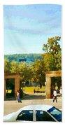 Thru Roddick Gates Your Future Awaits Mcgill University Paintings Montreal Art Carole Spandau Beach Towel