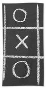 Tic-tac-toe On A Chalkboard Beach Towel