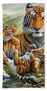 Tiger And Cubs Beach Towel by Adrian Chesterman