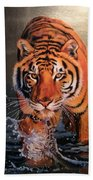 Tiger Crossing Water Beach Towel