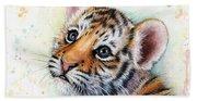Tiger Cub Watercolor Art Beach Sheet